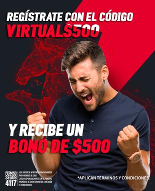 Bono VIRTUALS500 Regístrate utilizando el código VIRTUALS500 y recibe un bono de $500 para jugar en la sección de Virtuals de Strendus.
